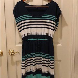 Gap Stripe Short Sleeve Maxi Dress